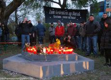 Fotos von der Grundsteinlegung des Gedenkorts am 5. Jahrestag des Mordes an Burak Bektaş am 5. April 2017