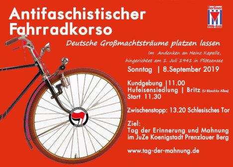 Antifaschistischer Fahrrad-Korso entlang an Orten von Verfolgung und Widerstand 1933-1945 | Im Andenken an Heinz Kapelle, hingerichtet am 1. Juli 1941 in Plötzensee, weil er im September 1939 Flugblätter gegen den Krieg verbreitete.